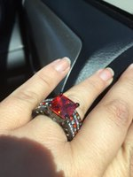 Wholesale Turkish Engagement Bands - Wholesale-Red Sapphire Black Filled Women's Black Gold Wedding Ring Set Engagement Ring, Turkish Couple Ring o Jewelry, Maxi Ring