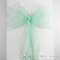 Wholesale Organza Roll Fabrics - Hot Sale 50 Mint Green Aqua Organza Crystal Chair Sash Table Sample Fabric Roll wedding for Bow Gift Party -SASH