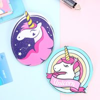 Wholesale Oval Clutches - artoon unicorn leather purse for women zipper round coin purse animal horse mini clutch wallet heart earphone pouch