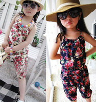 Wholesale White Suspenders For Babies - Hot sell 2016 Girls Pants Floral cotton Siamese Shorts Girls Conjoined twins pants baby jumpsuit girls Cotton flower jumpsuit for 2-7T