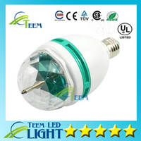 Wholesale led full color rotating - Epcket Free shipping 3W E27 RGB lighting Full Color LED Crystal Stage Light Auto Rotating stage Effect DJ lamp mini Stage Light Bulb