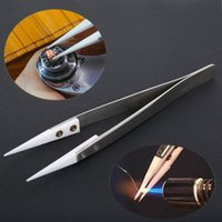 Wholesale point tweezers - High Quality Stainless Steel Ceramic Tweezers Heat Resistant Non Conductive Ceramic Pointed Tip DIY Tools