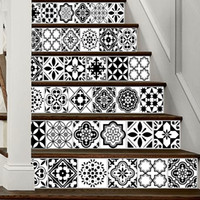 Wholesale vinyl tile stickers - 6pcs set 18cm x 100cm Black and White Style Arabia Tile Stairs Decoration 3D Sticker Art Pegatinas De Pared Home Decor Mur LT022