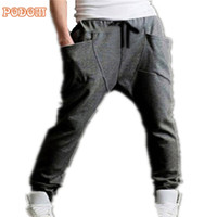 Wholesale Womens Wholesale Harem Pant - Wholesale-PODOM HOT Mens Womens New 2016 Fashion Harem Sports Dance Sweatpants Big Pockets Pants Baggy Jogging Casual Trousers