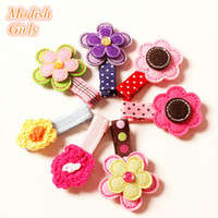 Wholesale Crystal Hair Grips - 20pcs lot Novelty Knitting Wool Felt Shapes Hair Clips Floral Hair Grips Baby Girls Fashion Hair Accessory Head Wear Crystal Hairpins