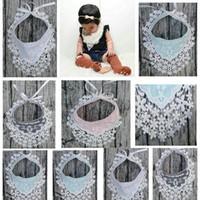 Wholesale Plain Burp Cloths - Girls Princess Lace Bibs Infant Toddlers Waterproof Bibs Baby Cotton Flowers Bandana Burp Cloths 4 colors C3015