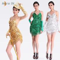 Wholesale Sequins Lace Fringe - Latin dress Gold and Silver Ballroom dress for women Latin dance costume Salsa sequins dresses Fringe skirts on sale 4 colors