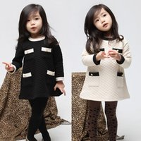 Wholesale Air Bows - Vogue 2016 Fall and Winter Clothes Korean Air Cotton Winter Baby Girls Clothes Childrens Long-sleeved Dress Son Kids