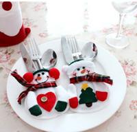 Wholesale figurine christmas - 100pcs lot Christmas Decoration Supplies for Home Christmas Snowman Style Christmas Candy Fork Knife Bag Christmas Ornaments