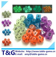 Wholesale Glowing Dice - 7pc lot High Quality Glowing Dice Set D4,6,8,10,10%,12,20,Glow in the Dark,luminous,Shine