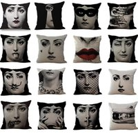 Wholesale Black Sofa Beds - 16 Styles 45*45cm Black Fornasetti Maestro Pillow Case Cushion cover Linen Cotton Throw Pillowcases Sofa Bed Pillow Covers CCA8320 50pcs
