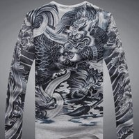 Wholesale Tattoos Sleeves Patterns - Men's Casual Slim Fitted Long Sleeve T Shirt Japan Ukiyoe Tattoo Art Design 100% Cotton Dragon Pattern Print Tops Tee Shirts