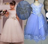 Wholesale Baby Wedding Shirt - 0144 Lace Cap Sleeves Crystals Ankle Length Tulle Baby Girl Birthday Party Christmas Dresses Children Girl Party Dresses Flower Girl Dresses