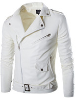 Giacca in pelle bianca FG1509 2015 Mens diagonale Zipper Chiodo Spring Fashion Pu Pelle