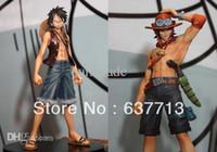 Wholesale One Pieces Set Figure - Wholesale-17cm Japan anime one piece Monkey.D.Luffy Portagas D Ace pvc figure set,free shipping toys gifts1set=2pcs