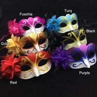 Wholesale carnival costumes for sale - on sale Party Mask Lateral Flower Gold Venetian Masquerade Mask Carnival Mardi Gras Dance Costume Cosplay halloween mask mix color