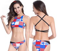 Wholesale High End Chests - 2016 Europe and the United States export a bathing suit Chinese-style chest covering the back American flag bikini high-end fission swimsuit
