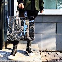 Wholesale Waterproof Pvc Handbags - 2017 New COMME PVC Bags DES GARCONS Double Transparent LOGO Handbag Kraft Paper Shopping Bag Fashion High Capacity Waterproof Bags HFBB011