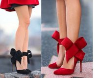 Multi-cores Red Black Big Bow Suede Pumps Pointed Toe High Heel Shoes para mulheres tamanho 35 a 40