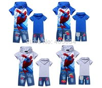 Wholesale Wholesale Spiderman Cartoon Jeans - 2014 New children clothing sets boys hoodies+jeans pants baby boys cartoon Spiderman Children suits pants 6 sizes lot
