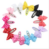 Wholesale Diy Hair Accessory - 2017 New Hair Accessories For Girls Diy Solid Grosgrain Hair Clips Baby Dot Bowknot Hair Clips Wholesale Kids Accessories Children
