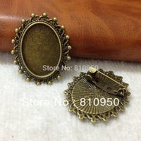 Wholesale Cameo Brooch Settings - 30pcs Alloy Antique Bronze 18x25mm Blank Tray Brooches Settings ,Lace Pad Tray Brooches Base Cameo Setting DIY Jewelry Finding