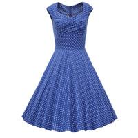 Wholesale Pinup Mini Dress - Hepburn Style 1950's Polka Dot Rockabilly Swing Dress Women's Summer Sleeveless Evening Pinup Prom Retro Dress