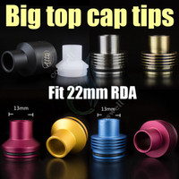 Wholesale drip hoses - New The Big top cap Drip tips enuff chuff POM aluminum stainless Resin Dripper v Patriot Vulcan Stillare Atty plume veil doge dark hose ecig