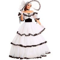 costumes mardi gras féminins achat en gros de-Costume de la Belle du Sud Costume de la Victorienne Costume pour adulte pour les femmes pour les femmes Blanc