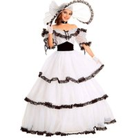vestidos de fiesta de las mujeres al por mayor-Southern Belle Costume Victorian Dress Costume Disfraces de Halloween Adultos para Mujeres White Civil War Gown Ball Lolita Dress Custom