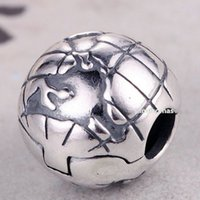 Wholesale Glass Cube Clips - Hot 100% 925 Sterling Silver Globe Clip Charm Bead Fits European Pandora Jewelry Bracelets Necklaces & Pendants