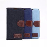 Wholesale Wholesale Cowboy Jeans - Denim Lines Jeans Stand Leather Case for Samsung Galaxy S4 S5 S6 G9200 for iPhone 4 5 6 Plus Flip Cowboy Wallet Holster Credit ID Card Slot