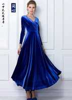 Wholesale Long Sleeved Velvet Gowns - Women dress Winter OL-D203 3Plus size Europe and American style long sleeved V collar sexy events formal dress large velvet dress