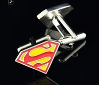 Wholesale Cufflink Superman - HOT SALE Superman Superhero Cufflink French Cufflinks Fathers Day Gift For Men Boy Jewelry Cuff Link Free Shipping W136