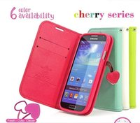 Wholesale Galaxy S Iv Flip - Cute Cherry Series Wallet Stand Flip Case For Samsung Galaxy S4 S IV I9500 Lovely Leather Holster Cover Phone Bags S 4