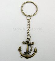 Wholesale Bronze Symbols Vintage - 50PCS Fashion Jewelry Vintage Bronze Seaman Anchor Symbol Charms Keychain Bag Fit DIY Key Ring Accessories L725
