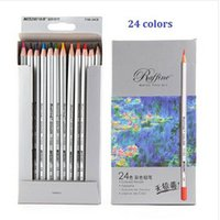 Wholesale Sketch Painting - Freeshipping 24pcs sketch Color Pencil lapis de cor Professional Non-toxic Lead-free Drawing Colored Pencil School Supplies Painting Pencils