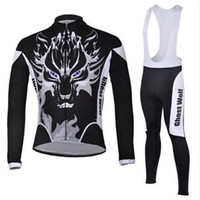 Wholesale Ghost Cycling Jersey - Ghost Wolf Winter Thermal Fleece Cycling Ropa Ciclismo Invierno Cycling jerseys Super Warm Bicycle Clothing Long GEL Pad Pants