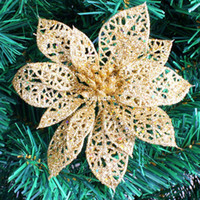 wholesale poinsettia christmas tree decorations online 10pcs cm gold glitter hollow artificial christmas flowers poinsettia