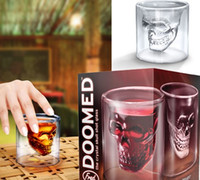 Wholesale Doomed Shot Glass - Doomed Crystal Skull Shotglass Cups Head Vodka Shot Glass Cup Beer Wine Whisky Mug Drinkware 75ML 2.5 Ounces Kitchen Dining Bar Retail Box