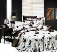 Wholesale Black White Painting Set - elegant butterfly black and white bedding sets bed linen oil painting polyester duvet cover bedclothes comforter sets full queen