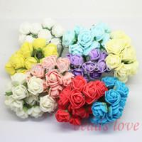 Wholesale Artificial Cake Decoration - 2cm head Multicolor PE Rose foam mini flower  Scrapbooking artificial rose flowers(144pcs lot)Pick color(W02609-W02617) wedding decoration