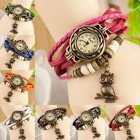 relógios de pulso venda por atacado-Pulseira de couro de relógio de pulso de quartzo de senhoras de movimento de decoração de coruja de pulseira de couro popular nova