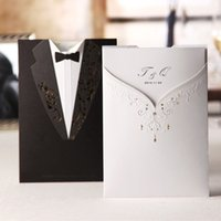 Wholesale Wedding Invitations White Sheet Card - Wholesale- Wishmade Classic Fashion Wedding invitation Cards,Black Back White Front of invitation card, With Inner sheet,Envelope