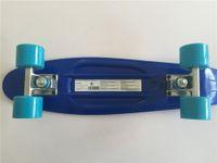 "Wholesale Retro Cruiser Skateboard - Wholesale-22"" Banana Board Dark Blue Cruiser Skateboard Retro Mini Skate Long Board Small Plastic Longboard Complete Skates"