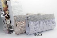 Wholesale Silver Clutch Bags For Prom - Wholesale-New Upscale Ladies Evening Bags Fashion Crystal Women's Clutches With Shoulder Chain For Wedding Prom Party