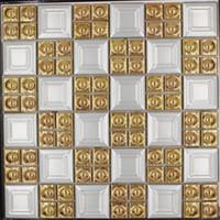 Wholesale tile backsplash for kitchens resale online - Hot Sale Porcelain gold white color square mosaic tile wall flooring ceramic tiles for TV background kitchen backsplash luxury design