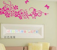 Wholesale Television Living Room Corner - Free Shipping Large Corner Flower Vine Swirl Flower Tree and Butterfly Home Deco Wall Stickers black,pink