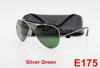 Wholesale Goggles Packages Wholesale - 50Pairs Great Quality For Mens Male Designer Pilot Sunglasses Outdoorsman Sun Glasses Eyewear Silver Green 62mm Glass Lenses With Package