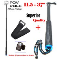 "Wholesale Strip Poles - Wholesale-New 37"" POV Pole Surfing Grip Go Pro Stick camera Monopod tripod+RC strip For Gopro HERO4,3+ SJ4000 SJCAM XiaoMi Yi AEE"